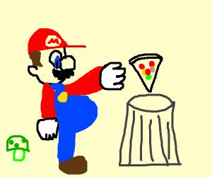 mario throws away a slice of pizza
