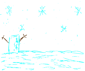 rectangle with snowman arms in the snow