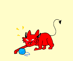 Evil cat plays with yarn.