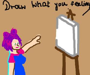 purplehaired girl wants you to draw ya feelin