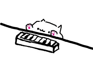 Cat composing music
