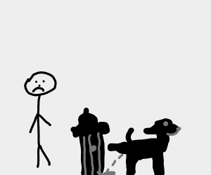 Man gets sad because a dog pees on a hydrant
