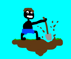 black man digging