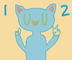 Blue haired person with UwU face counts to 2.