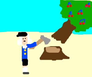 George Washington Chopping Down Cherry Tree