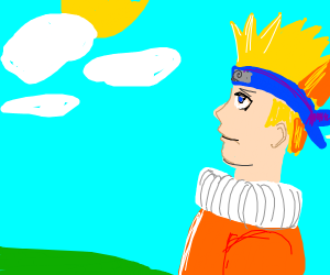 A pensive Naruto looks up at the sky
