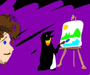 painter teaches penguin to paint