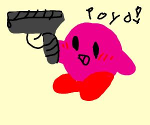 Pink creature with a handgun