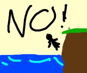 Woman falls into ocean, yells 'NOO!'