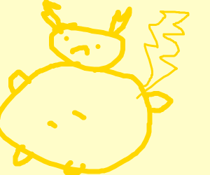 an obese pikachu