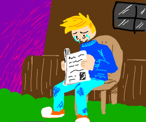 depressed man with newspaper