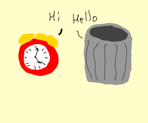 Clock and trash can have conversation