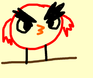 a red bird smoking on a tree branch
