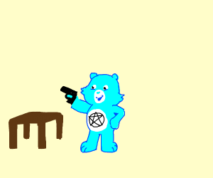 evil care bear tried to rob a table