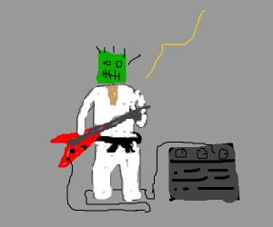 black belt frankenstien plays guitar