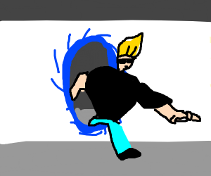 Johnny Bravo comes out of portal