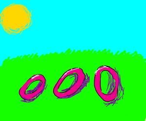 pink rings over grass field