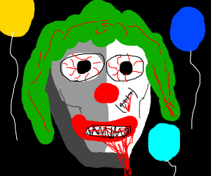 Creepy clown with balloons. (Not It.)