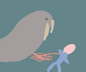 A walrus peeing on a human child