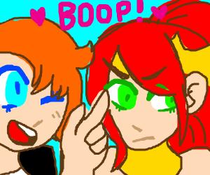 booping a disgruntled girl