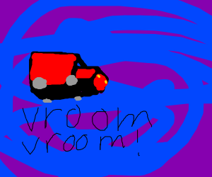 car goes vroom vroom in purple and blue void
