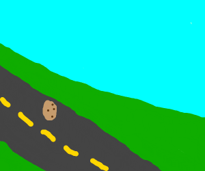 Potato runs down the road