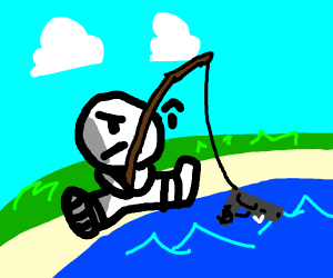 man fishing for a gun