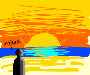 A person looking at a sun set