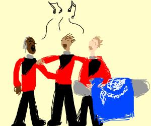 Star Trek redshirts singing a dirge