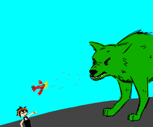 Orange man shooting giant green dog