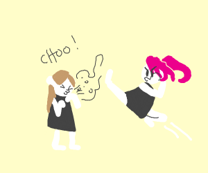 Pink-haired woman fighting of a sneeze