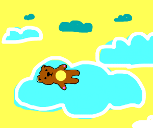 Teddy bear asleep on a cloud