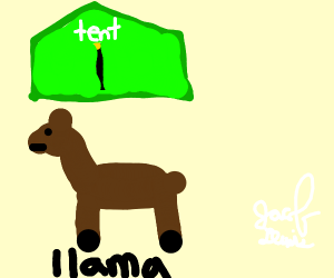 llama with a tent on top
