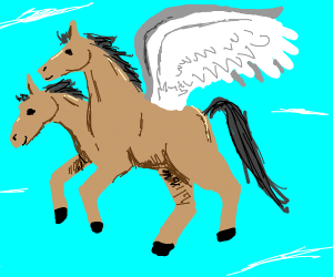 Horse with two heads flying