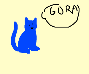 Blue cat saying gora