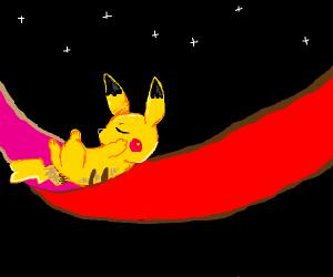 pikachu in a hammock