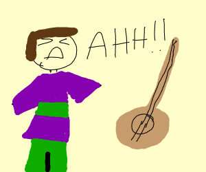 man in green and purple plaid is mad at banjo