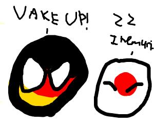 Japan sleeping in public provoking Germany.