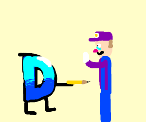 Drawception tries to stab Waluigi with pencil