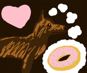 Dog wants doughnuts