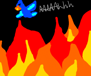 Bird flees in terror from flames