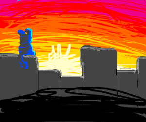 Blue creature on buildings in sunset(ish)