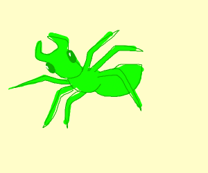 a green ant stomping around