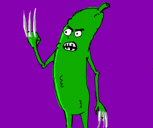 An angry pickle with wolverine claws