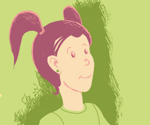 Girl with purple hair in pigtails