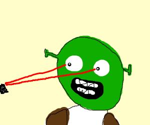 Shrek with laser eyes
