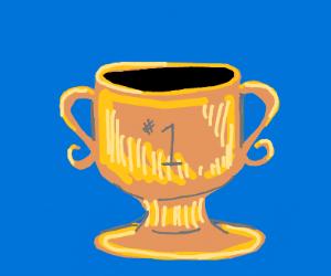 a golden trophy
