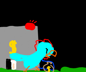 Blue chicken just robbed a bank