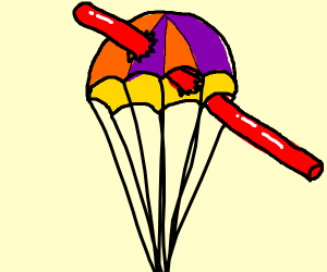 Parachute stuck on a red stick