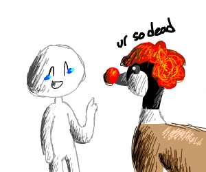 Clown goose is mad at human